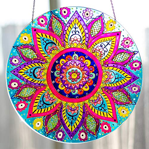 Window Hanging Suncatcher Mandala Stained Glass Sun Catcher Circle Hand Painted Mandala Art Decor - Colorful Window Decoration ()