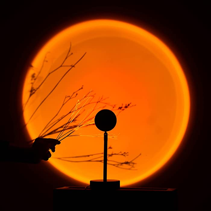 Sunset Projection Lamp, 3 in 1 Sunset Lamp 180 Degrees Rotation LED Projector Lamp, Three-Color Variable Mode Sunset Light for Night Light Living Room Bedroom Decor (Sunset Red)