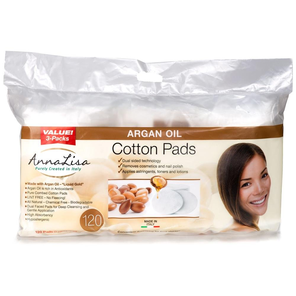 Argan Oil LARGE Italian Cotton Pads, 120 Count