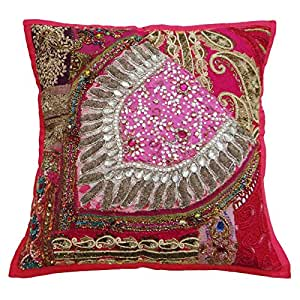 "Decorative Handmade Patchwork Cushion Cover Cotton Blend On 40 Cm Pillowcase India Art 16"" X 16"""