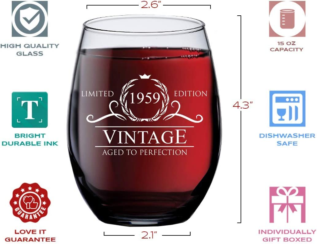 Amazon Com 1959 61st Birthday Gifts For Women Men 15 Oz Stemless Wine Glass 61 Year Old Gift Present Ideas For Mom Dad Funny Vintage Unique Personalized Party Anniversary