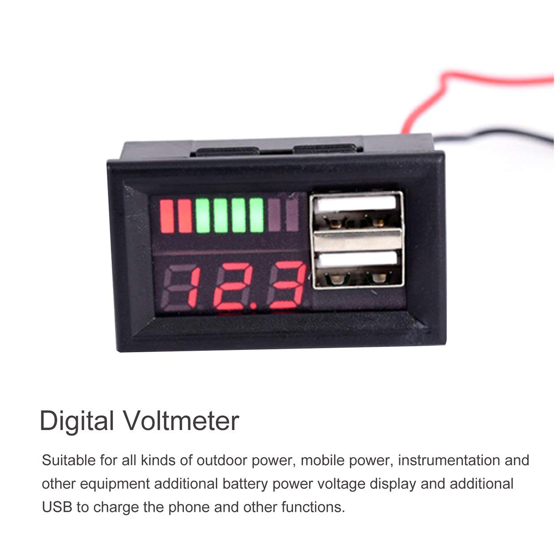 MXECO Volt/ímetro de pantalla digital Medidor de voltaje Volt Tester Dual USB 5V 2A para DC 12V Coches Motocicletas Veh/ículos Capacidad de la bater/ía