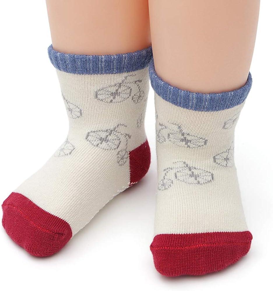 Yafane 12 Pares de Calcetines Antideslizantes para Ni/ños Peque/ños Algod/ón Lindo con Pu/ños Calcetines Antideslizantes para Beb/és