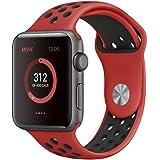 EloBeth For Apple Watch Armband Series 1 Series 2- Sport Smart Watch Silikon Strap Replacement Wrist Band Uhrenarmband Ersatzband Bügel für Apple iWatch/Apple Watch Nike+ (42mm, Rot/Schwarz)