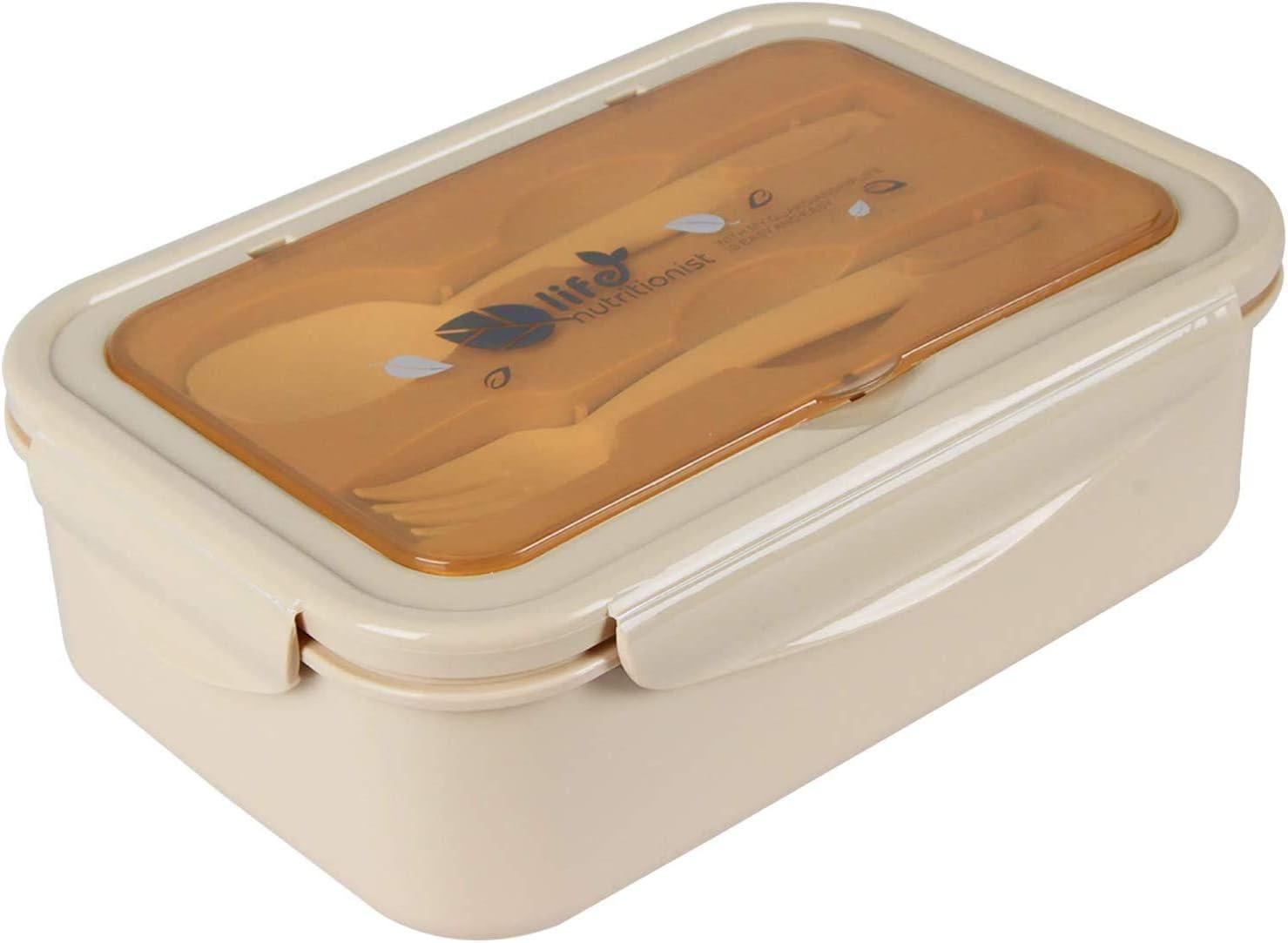 MEIXI Fiambrera Infantil Caja de Bento con 3 Compartimentos y Cubiertos Fiambreras Caja de Alimentos Ideal para Almuerzo y Bocadillos para Niños y Adultos (Caqui): Amazon.es: Hogar