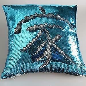 Amazon Com Mermaid Sequin Pillow Cover Blue Silver