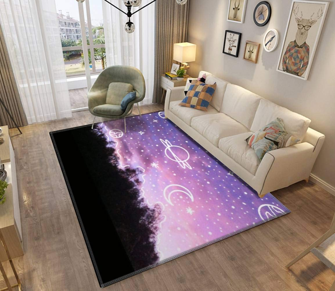 Aesthetic Tumblr Sunset Galaxy Doodle Area Rugs Non-Slip Floor Mat Doormats Home Runner Rug Carpet for Bedroom Indoor Outdoor Kids Play Mat Nursery Throw Rugs Yoga Mat by ZOANIML