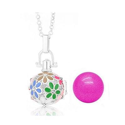 ♥ Pendentif Bijou de Grossesse Bola Fleurs Multicolores Emaillées Carillon Rose Plaqué Argent et Chaîne.