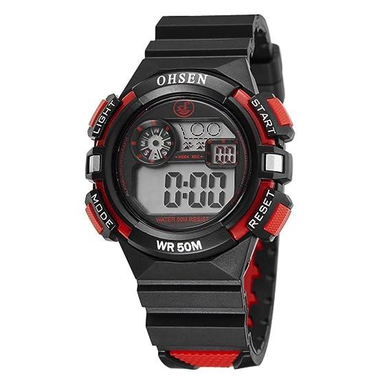 Reloj De Niños Niñas Electrónico Digital Con Alarma De Iluminación LED Impermeable Con Multifunción Cronómetro-Rojo: Amazon.es: Relojes