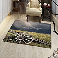Barn Wood Wagon Wheel Floor Mat Pattern Cloudy Day in Village Farm Aged Vintage Cart Outdoors Living Dinning Room & Bedroom Rugs 5x6 Umber Green Dark Blue