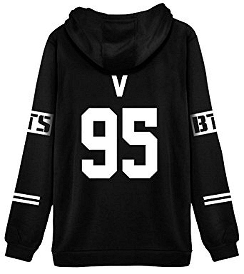 ShallGood Femme Automne Mode BTS Fans Sweats à Capuche à Manches Longues  Varsity Rayé Encapuchonné Sweatshirt acac6e5a0e78