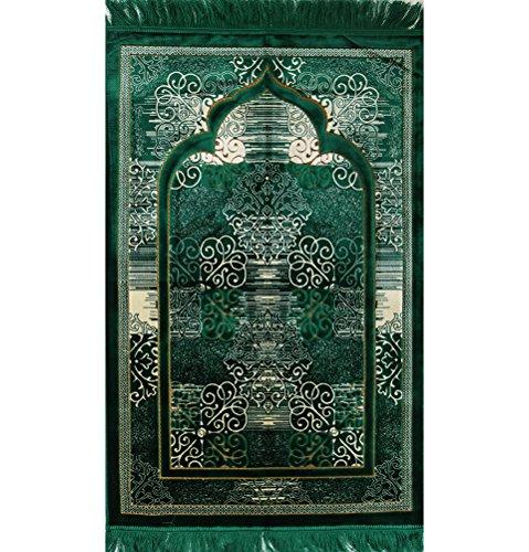 Modefa Muslim Prayer Rug - Islamic Plush Velvet Turkish Carpet Janamaz Sajadah FREE Prayer Cap Elegant Swirl (Green)
