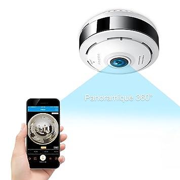 Cámara seguridad WiFi 960p Fredi IP, cámara de vigilancia panorámica 360 grados, detector de
