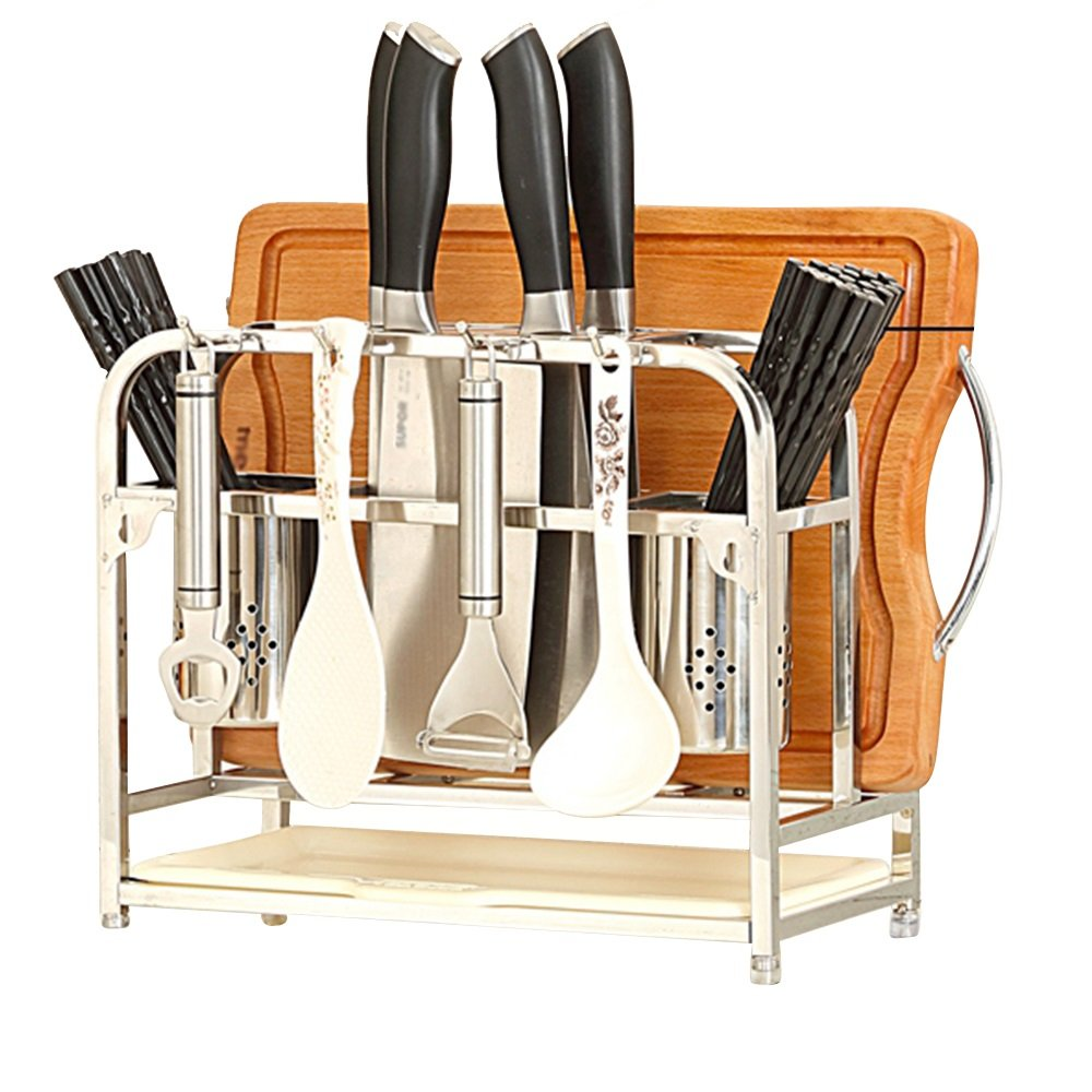 Stainless Steel White/Orange Low Cropped/High Double Air Chopsticks Bucket/5 Cutters/Cutter Rack Kitchen Drain Multi-Functional Rack Size: 331720/39cm Durable (Color : B)