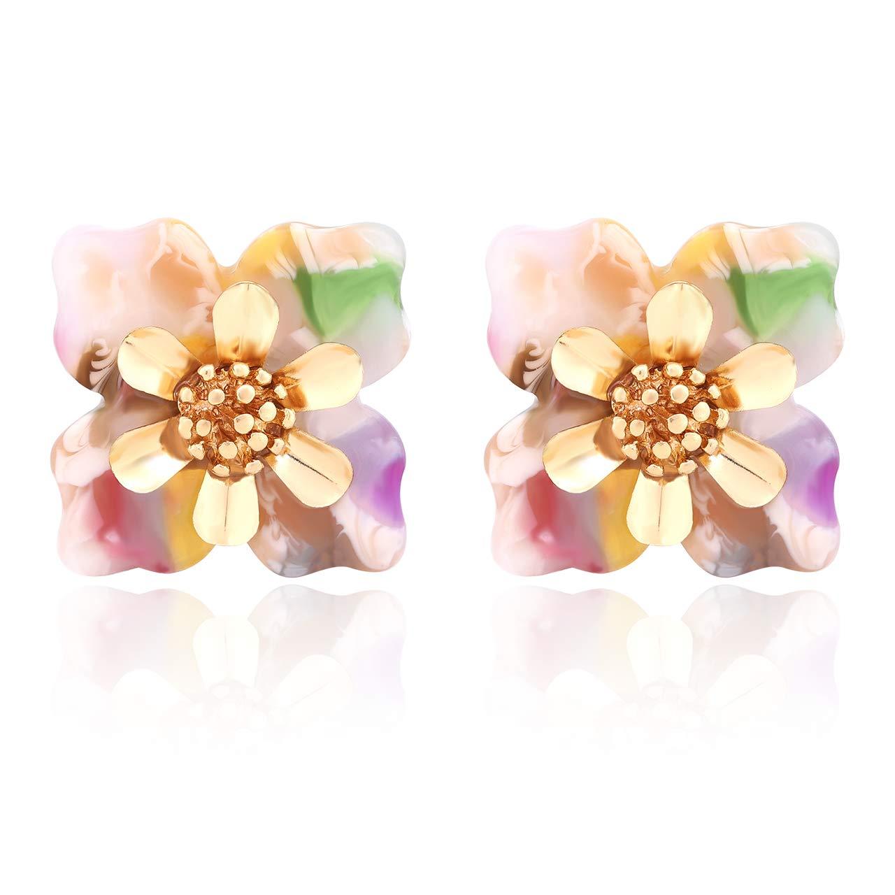 5449f5ba6a6 Amazon.com: Acrylic Resin Vintage Flower Stud Earrings - Geometric 3D  Floral Statement Earring Handmade Lightweight Jewelry for Women (Floral):  Jewelry