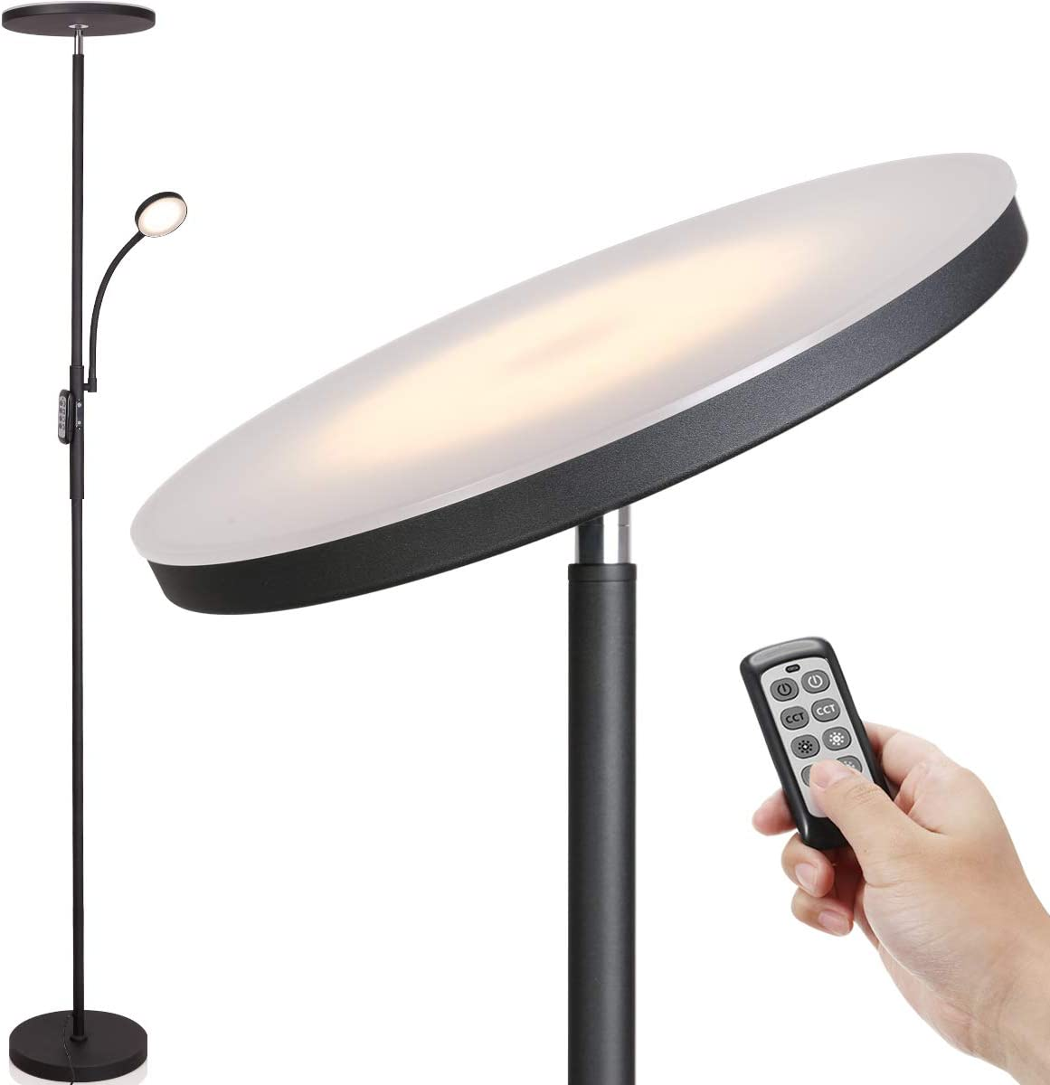 LED Floor Lamp - Soarz Torchiere Floor Lamp with Adjustable Reading Lamp,2000lumen Main Light and 400lumens Side Reading Light for Living Room, Bedroom, Office, Work with Remote Control (Matte Black)
