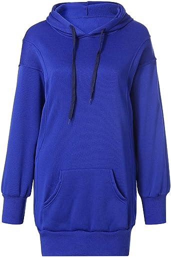 Yowablo damski sweter z kapturem długi rękaw bluza z kapturem płaszcz kurtka sweter z kapturem: Odzież