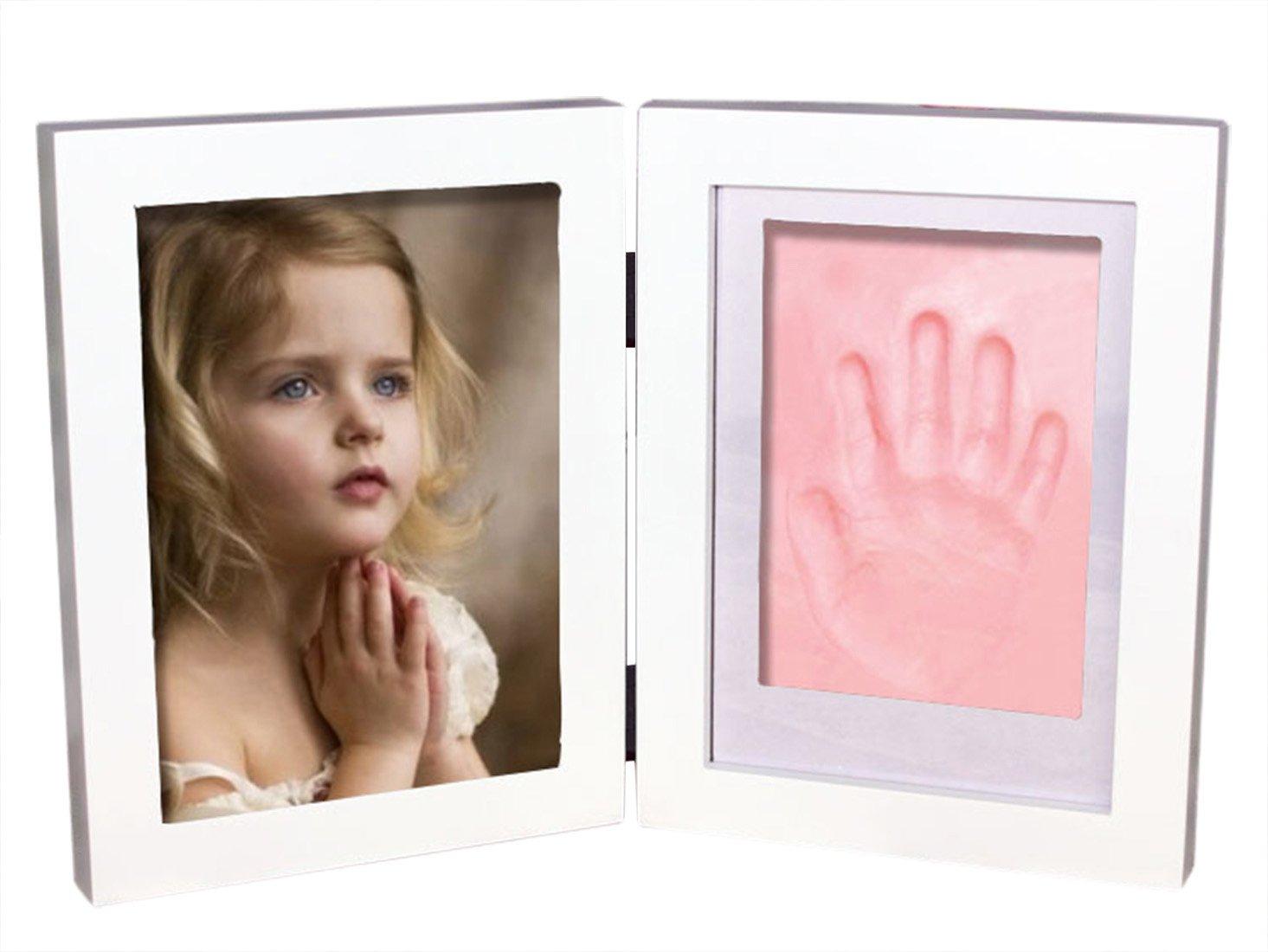 Newborn Babyprints DIY Clay Baby Handprint & Footprint Desk Photo Frame & Impression Kit Frame Keepsake Happy Cherry