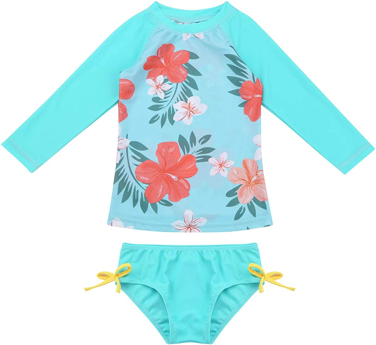 FEESHOW Baby Girls Floral One Piece Long Sleeve Rash Guard Swimsuit Shirt with Ruffle Bloomers Swim Briefs Set