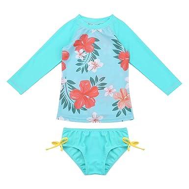 37f5b190c4dbd YiZYiF Bébé Fille Maillot de Bain Anti-UV Deux Pièces Fleur Tankini Bikini  Haut Natation