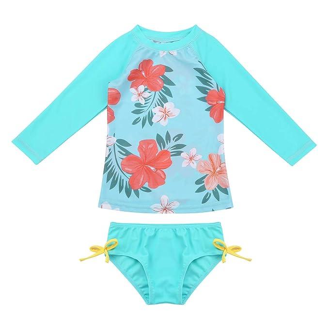 MSemis Traje de Baño Dos Piezas para Bebé Niñas Bañadores Mnaga Larga Protección Solar con Braga de Natación Conjunto de Bikini Ropa de Playa