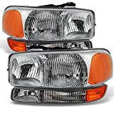 GMC Sierra 1500 2500 3500 Yukon XL OE Replacement Headlights Driver/Passenger Head Lamps