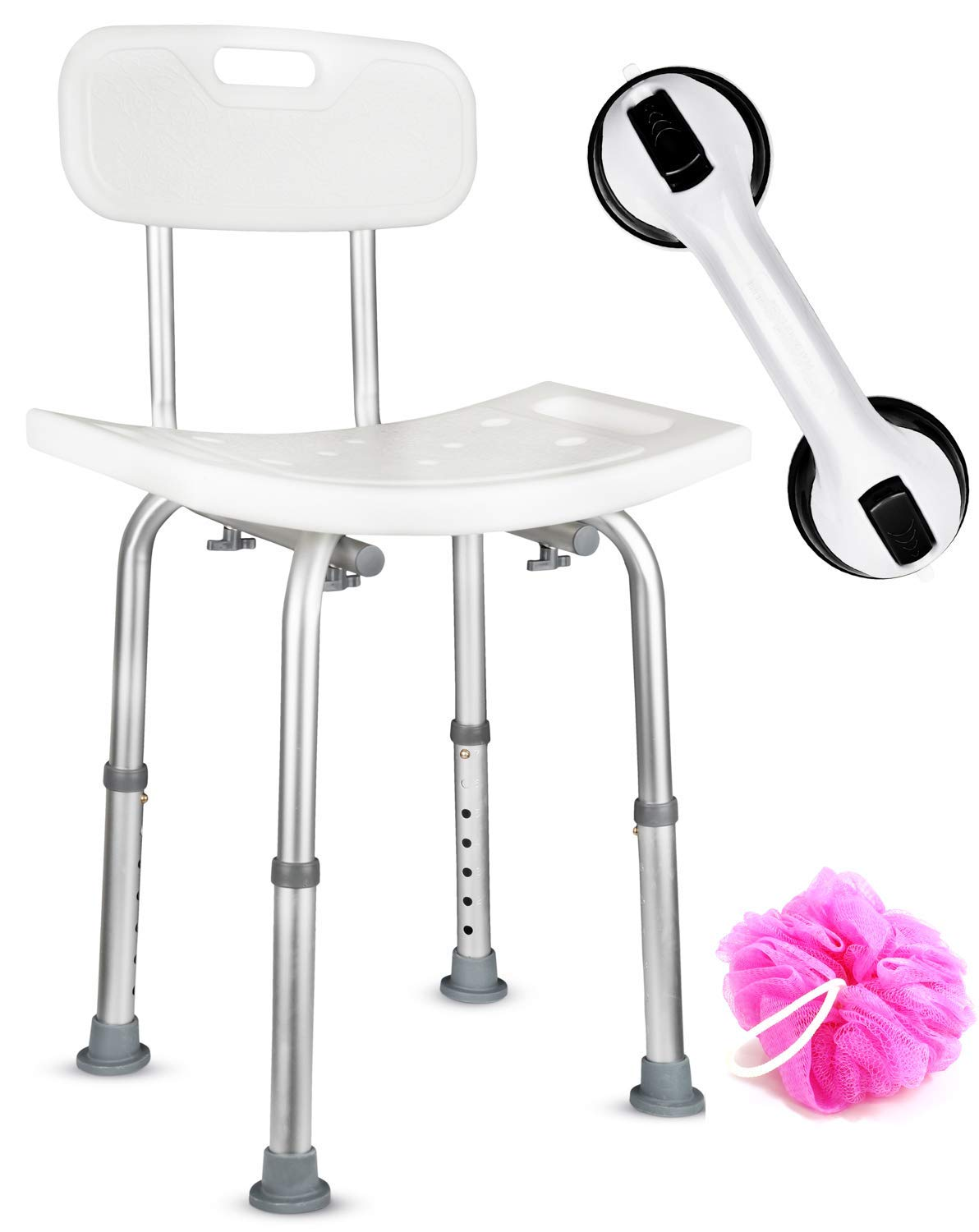 Dr. Maya Adjustable Bath and Shower Chair with Back - Free Suction Assist Grab Bar - Anti-Slip Bench Bathtub Stool Seat for Bathroom Safety