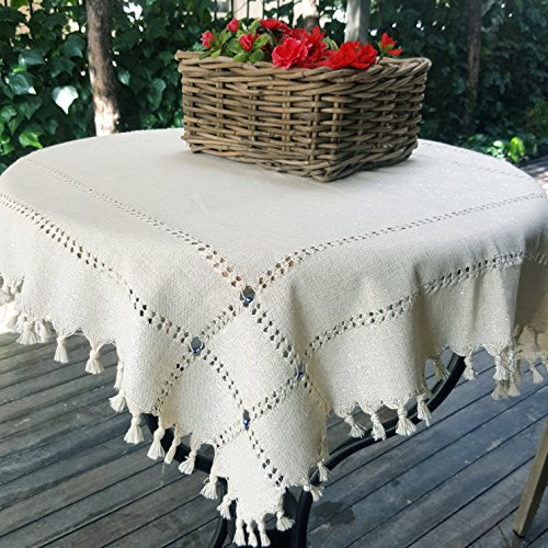Secret Sea Collection - Handmade, 100% Natural Cotton, Traditional Coffee or Side Table Tablecloth, Decorated with Blue Beads and Silver Glitter, Round Table Tablecloth, (36