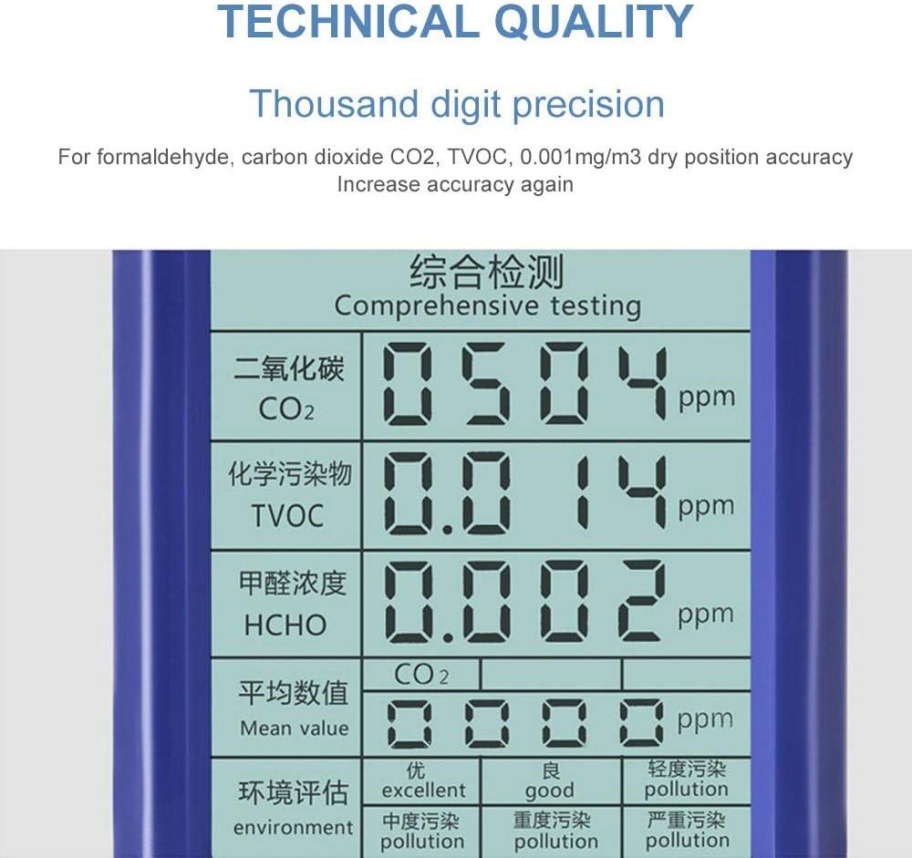 D/étecteur multi-gaz 5 en 1 D/étecteur CO2 TVOC HCHO AQI Bleu Analyseur de qualit/é de lair rechargeable portable avec /écran LCD