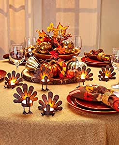 ... Candleholder Sets & Amazon.com: Set of 6 Turkey Tea Light Candleholders: Home u0026 Kitchen