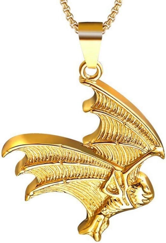 Burenqi Estilo gótico de la Vendimia Look Silver Gold Tone Collar de ala de murciélago Grande de Acero Inoxidable 66 cm Joyería de Cadena
