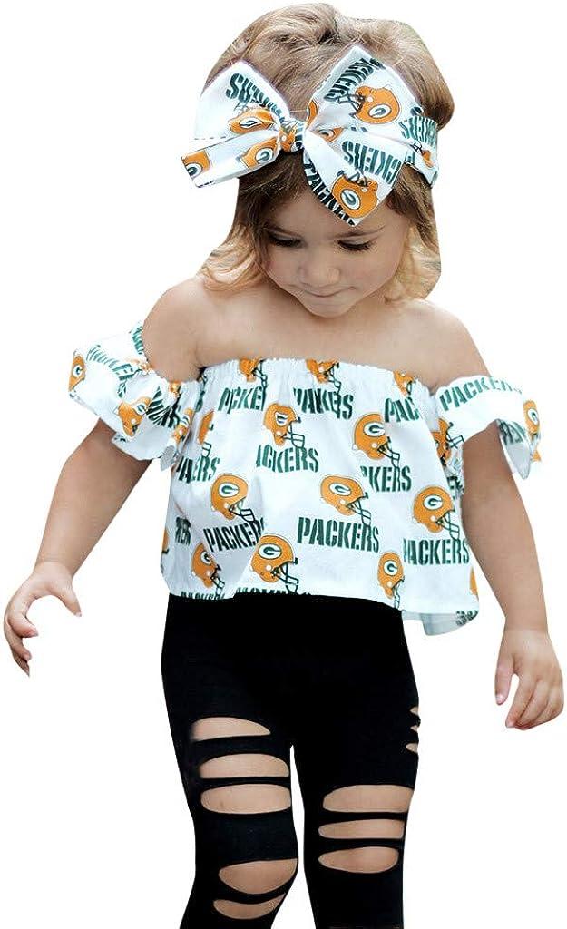 K-youth Ropa Niña Verano 0-4 años Conjunto de Ropa Bebe Recién Nacido Camiseta Sin Tirantes con Estampado de Carta y Agujero Vaqueros Pantalones con Banda de Pelo