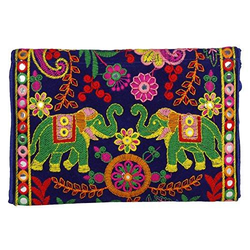 Ethnic Blue Embroidered Cross foldover Handmade Sling Purse Clutch Color Cute Bag Body Bag Banjara aqx5US