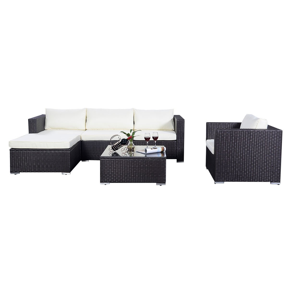 poly ratten gartenm bel 15tlg sofa rattanm bel polyrattan lounge set sitzgruppe gartengarnitur. Black Bedroom Furniture Sets. Home Design Ideas