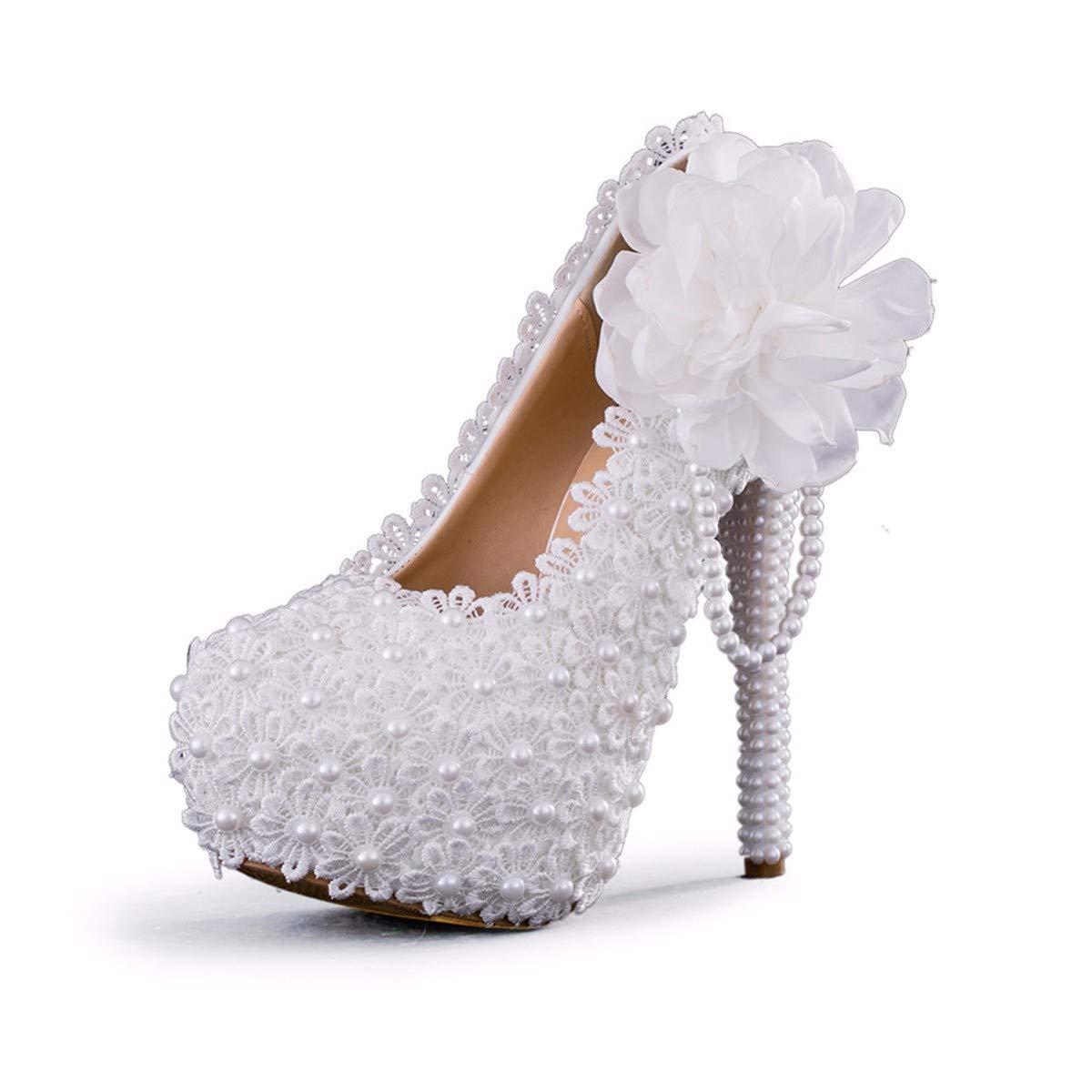 KPHY Damenschuhe/Spitzen Blumen 11Cm High Heels Weiße Brautkleider Bankett Damenschuhe Wasserdicht Tabellen Einzelne Schuhe Braut - Schuhe.
