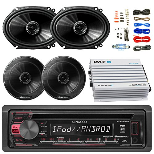 """Kenwood KDC168U Car Bluetooth Radio USB AUX CD Player Receiver - Bundle Combo With 2x 250W 6x8"""" inch 2-Way Coaxial Car Audio Speakers + 2x 6.5-Inch Speakers + 4-Channel Amplifier + Amp Kit"""