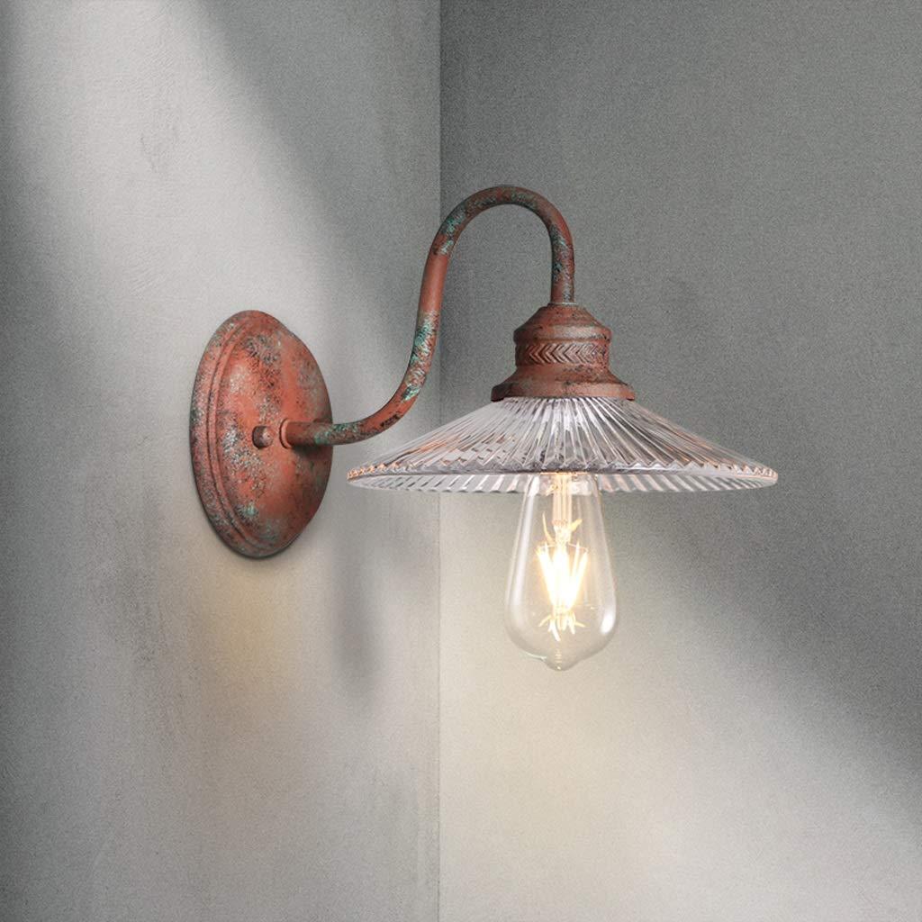 Wandleuchte Wandleuchte Eisen - W6150 Industrial Windsor Restaurant Schlafzimmer Nachttischlampe Amerikanische Vintage Alte Und Alte Vintage Glaswandlampe