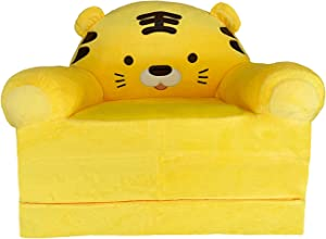 Plush Foldable Kids Sofa Backrest Chair Cute Cartoon Lazy Sofa Infant Toddler Kids's Flip Open Sofa Bed for Living Room Bedroom (Tiger Yellow)