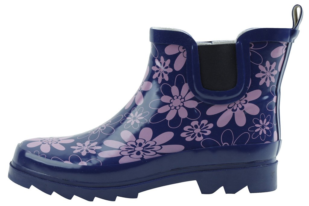 Cambridge Select Women's Waterproof Print Pattern Welly Ankle Boot B076B1FR35 8 B(M) US|Purple
