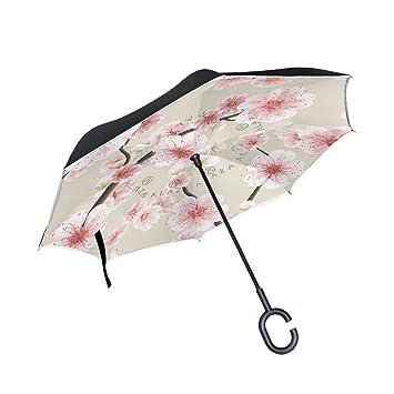 Wamika - Paraguas reversible para coche, doble capa, protección UV, paraguas invertido,