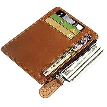 Arvok Tarjetero para Tarjetas de Crédito, Cartera Delgada De Cuero Slim Moda RFID Bloqueo Monedero