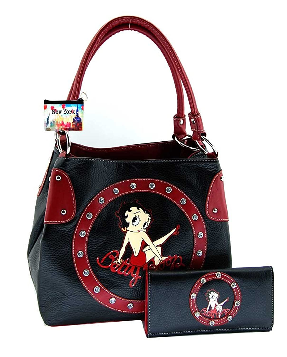 Betty Boop Purse and Wallet Set, BP10130A, Black with Rhinestones