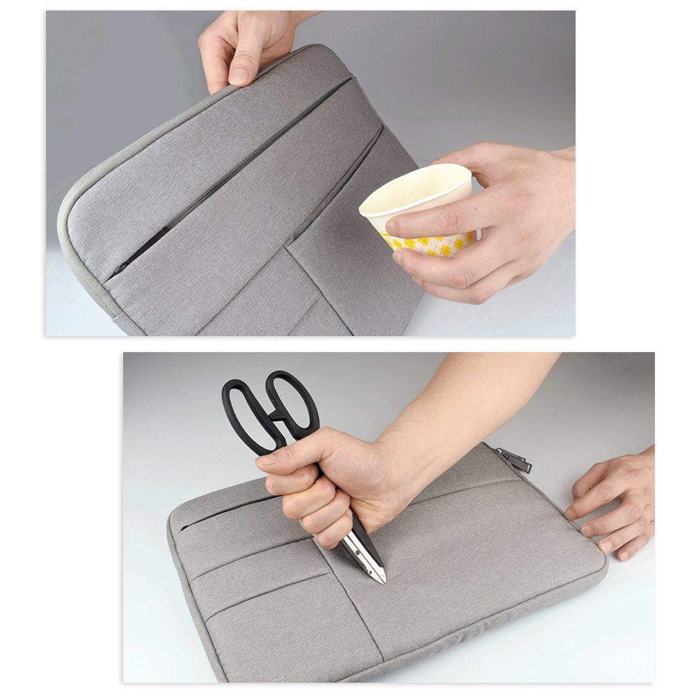 Jia Hu 5Pc Quality Canvas Tablet Laptop Sleeve Briefcase Notebook Messenger Bag Business School Gray