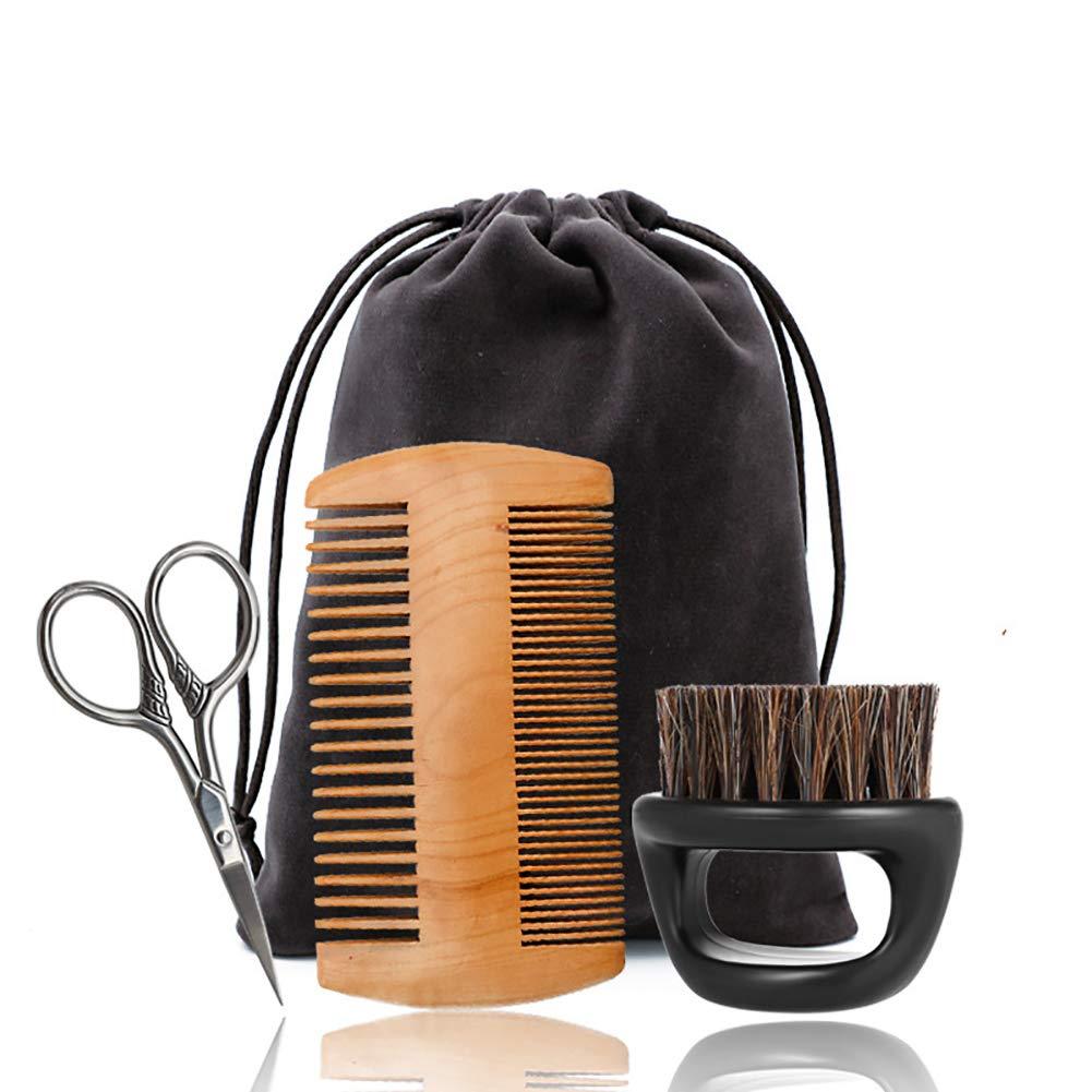 4pcs barbe Kit toilettage moustache brosse à poils peigne ciseaux pour le façonnage et la croissance avec sac de voyage outil de façonnage pour une symétrie parfaite de rasage Hilai