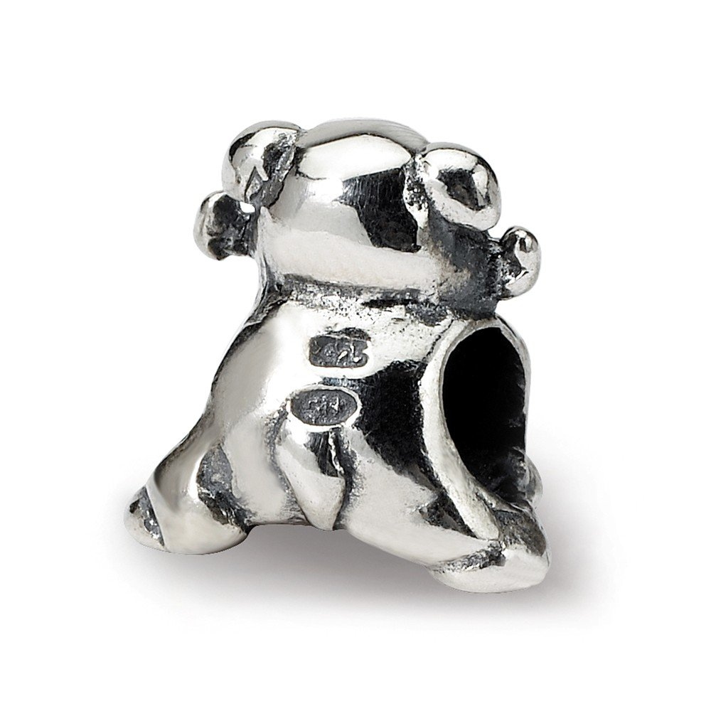 11.8mm x 10.9mm Jewel Tie 925 Sterling Silver Reflections Dog with Bone Bead
