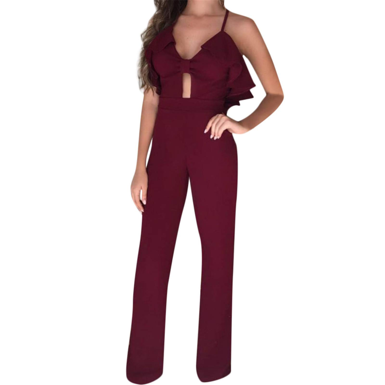 Thenxin Lady's Cocktail Party High Waist Jumpsuit Cami Straps Ruffle Trim Cut Out Backless Romper(Red,S)