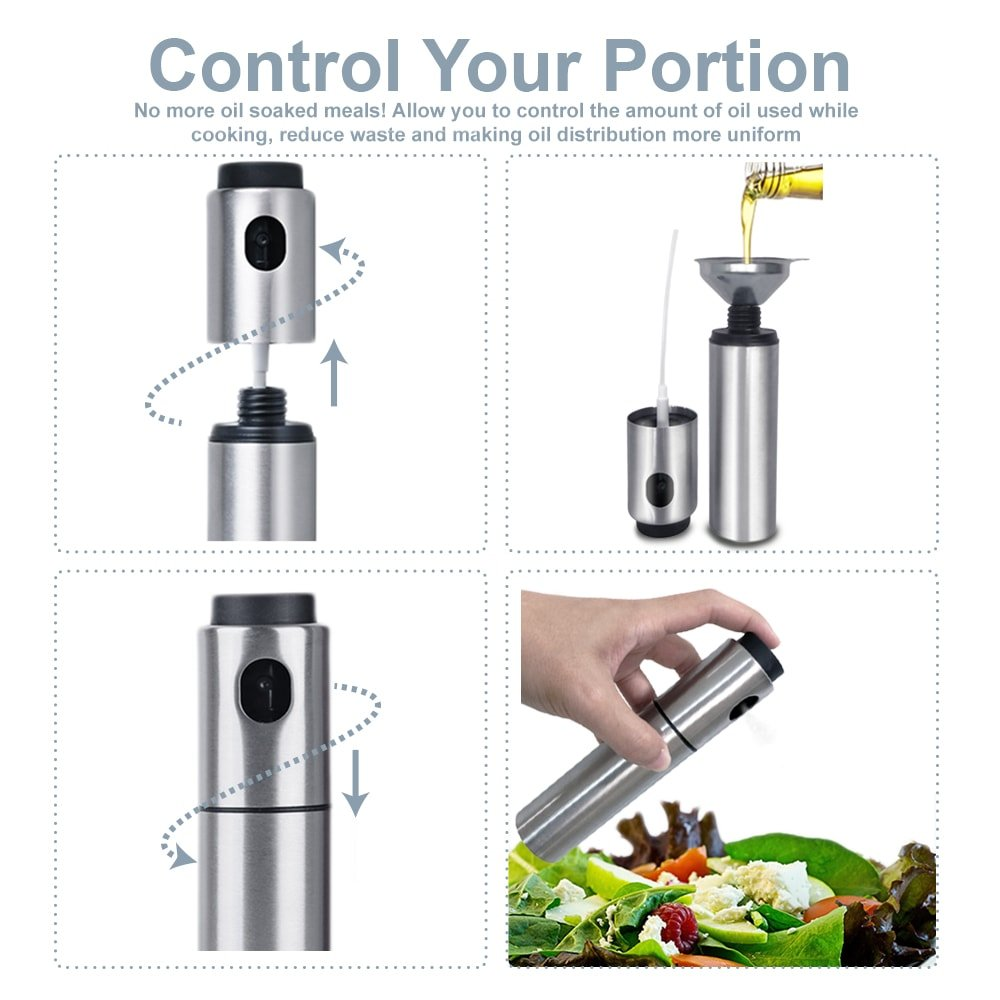 Oil Sprayer for Cooking Olive Vinegar Bottle EMSIN Bbq Air Fryer Making Salad Refillable Essential Oil Non Aerosol Clog Free Pressure Pump Dispenser Stainless Steel Olive Oil Bottle Sprayer by EMSIN (Image #5)