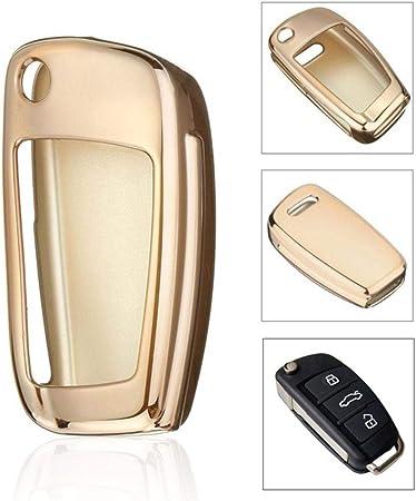 Autoschlüssel Hülle Für Audi A1 A3 A4 S3 S4 S5 Tt Tpu Schutzhülle Schlüsselhülle Cover Für Audi A1 A3 A4 S3 S4 S5 Tt 3 Tasten Autoschlüssel Hochglanz Auto