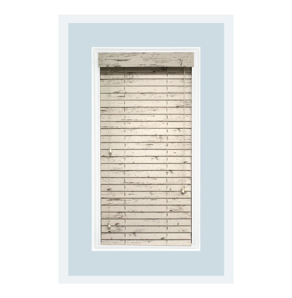 Rustic Collection: Custom-Made, 2 inch Real Wood Horizontal Window Blinds, Cottage White, Inside Mount