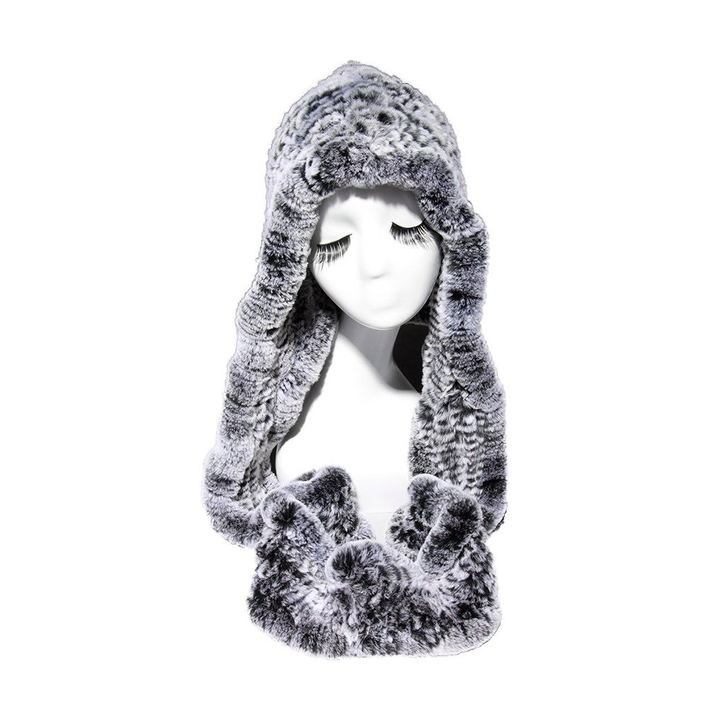 Fur Story 15670 Women's Knitted Real Rabbit Fur Beanie Hat with Fur Hat Scarf Silver Black